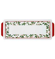 Christmas - Bandeja Torta - Decoração em vermelho e verde para uma mesa de Natal. Mãe