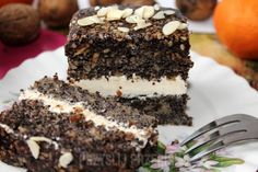 Ciasto makowe z czekoladą, migdałami i kremem mascarpone (tort) Mascarpone Creme, Cake Recipes, Dessert Recipes, Food Cakes, Cookie Desserts, Tiramisu, Ale, Mozzarella, Recipies