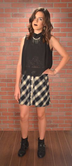 Navy and White Plaid Skirt with Black Faux Leather Trim