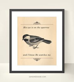 Christian Gospel Hymn Print  His Eye is on The by iamamessage, $30.00