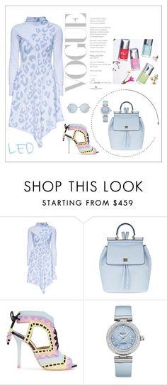 """'Snow Kiss' Leopard Print, Knitted Dress"" by lattori ❤ liked on Polyvore featuring Lattori, Dolce&Gabbana, Sophia Webster, OMEGA, dress, dresses, leo, knit and lattori"