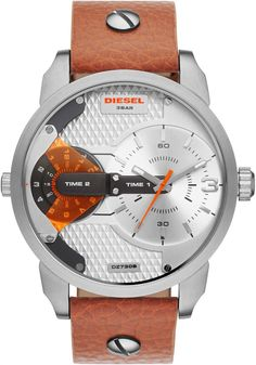 Diesel Watch features a brown leather strap, stark white dial and orange accents. Discover this and other Diesel timeframes at the official Diesel USA online store. Daddy, Mens Watches Leather, Leather Men, Men's Accessories, Diesel Watches For Men, Mini, Brown Leather Watch, Watch Sale, Stainless Steel Case