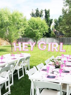 HEY GIRL giant lawn sign for a baby shower