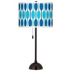 Jet Set Giclee Glow Tiger Bronze Club Table Lamp