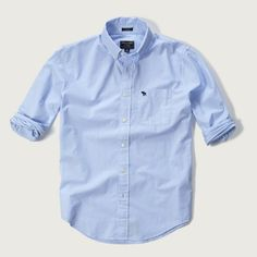 Abercrombie & Fitch Classic Fit Poplin Shirt ($58) ❤ liked on Polyvore featuring men's fashion, men's clothing, men's shirts, men's casual shirts and light blue