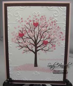 Sheltering Tree set with the Hearts Border Punch and the Filigree Embossing Folder. Can you see the pearls on the Pink Pirouette hearts?