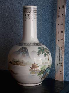 #138 VINTAGE GREEN CHINESE BOTTLE VASE . BALUSTER LANDSCAPE DRAWING 23.5cm tall.