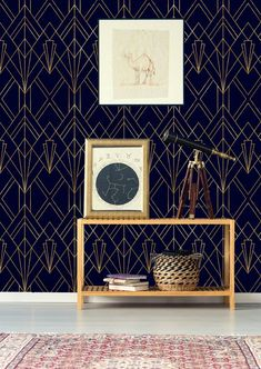 Gold And Navy Blue Geometric Removable Wallpaper L And Stick Wallpaper Wall Mural