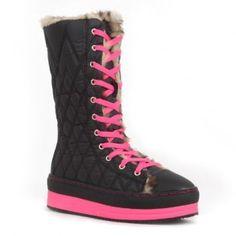 8262 Women Lace-Up Mid-Top Platform Sneaker Mid-Calf Booties - Black