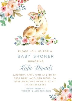 22 Trendy Ideas baby shower invitations for girls book Baby Girl Shower Themes, Baby Shower Invites For Girl, Baby Boy Shower, Baby Shower Gifts, Invitaciones Baby Shower Niña, Bambi Baby, Deer Baby Showers, New Baby Products, Deer Girl