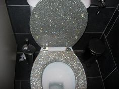 glitter toilet by fritzab,  Now I really want this bling. (I left the original comments because that's half the reason I pinned this)