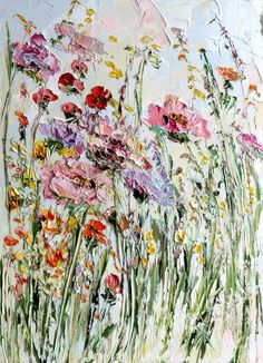 Oil Painting Flowers on Canvas Landscape by ForestSandandAir