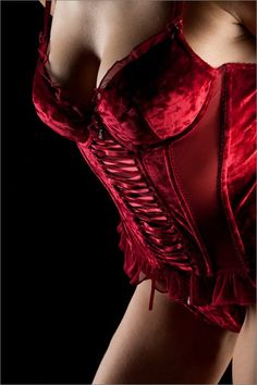 lavinialingerie:  #Sexy Red Satin Lace Up Corset #Lingerie