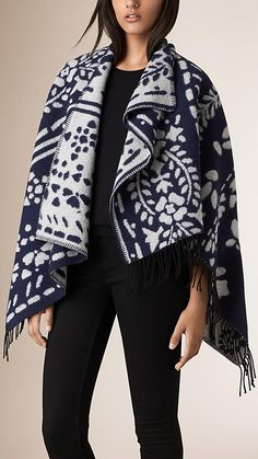 Navy Floral Jacquard Wool Cashmere Poncho - Image 1