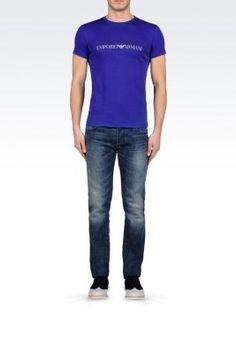 Camiseta Emporio Armani Men's Crew Neck Cotton T-Shirt With Logo Dark Purple #Camiseta #Emporio Armani