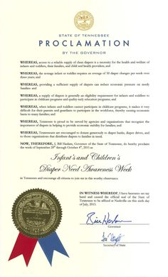 Tennessee Governor Bill Haslam's proclamation recognizing Diaper Need Awareness Week (Sept. 28 - Oct. 4, 2015) #DiaperNeed www.diaperneed.org