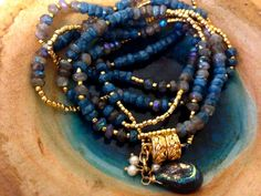 Wrap bracelet/necklace combination,-Rare Ab Chrysocola  with Labradorite and 24K gold glass beads  vermeil magnetic clasp