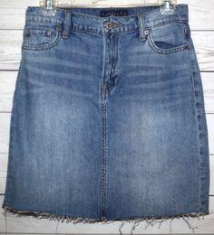 LUCKY BRAND 2/26 Women's High Rise Pencil Distressed Mini Denim Jean Slit Skirt #LuckyBrand #Mini
