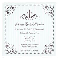 boy communion invitation | Elegant boys christening/baptism/first communion personalized ...