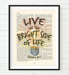 Live on the Bright Side of Life- Isaiah 60:1 -Vintage Bible Highlighted Verse Scripture Page- Christian Wall ART PRINT