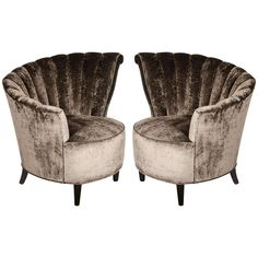 Glamorous Pair of 1940's Asymmetrical Fan Back Chairs in Smoked Velvet | 1stdibs.com