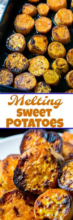 Melting Sweet Potatoes are nicely caramelized on the outside and wonderfully creamy and soft inside. Oven roasted potatoes never tasted so good! Sweet Potato Slices, Sweet Potato Recipes, Vegetarian Cooking, Cooking Recipes, Healthy Recipes, Cooking Lamb, Cooking Wine, Vegetable Dishes, Vegetable Recipes