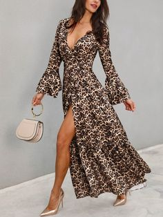 Bell Sleeve Leopard Belted Wrap Blouse New Arrival Bikinis, Jumpsuits, Dresses, Tops, High Heels on Sale. Refresh Your Picks Now. Bridesmaid Dresses Canada, Look Boho, Floral Sundress, Wrap Blouse, Fashion Prints, Pattern Fashion, Blouses For Women, Ladies Blouses, Dress Skirt