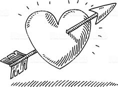 Hand-drawn vector drawing of a Love Heart with an Arrow. Free Vector Graphics, Free Vector Art, Heart With Arrow, Love Heart, Realistic Pencil Drawings, Art Drawings, Art Therapy Projects, Art Projects, Arrow Drawing