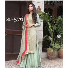Online Shopping of Pista Green Designer Embroidery Georgette Semi stich suit from mongoosekart, best products,fatest delivery available here, Huge collection . Gharara Designs, Salwar Designs, Designer Punjabi Suits, Indian Designer Wear, Pakistani Outfits, Indian Outfits, Indian Clothes, Indian Attire, Indian Wear