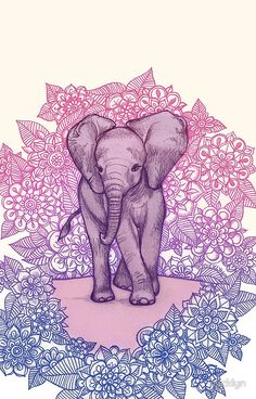 Cute Baby Elephant in pink, purple & blue
