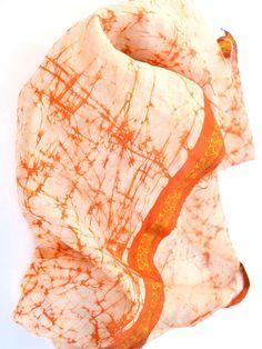 Medium Ivory and Orange Silk Batik Scarf  #miri #bohemian #boho #natural #cute