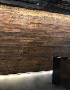 Not just for flooring anymore. Due to the high cost of reclaimed wood, our extensive line of pre-finished Doug Fir flooring is commonly used for wall cladding. Pictured here in our random width Mountain Collection, Big Horn color.