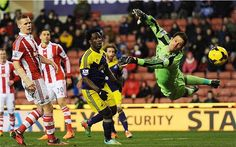Stoke goalkeeper Asmir Begovic fails to keep out Swansea's Chico Flores' effort in a 2-2 draw