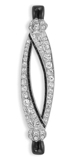 Black Onyx and Diamond Brooch, Lambert   Platinum, the modified navette-shaped openwork brooch set with 56 old-mine cut diamonds approximately 3.50 cts., the inner edges lined with rectangular French-cut black onyx, tipped by 2 black onyx terminals, signed Lambert, circa 1920
