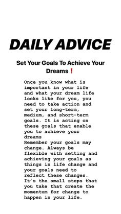 tips. Short Term Goals, Set Your Goals, Take Action, Dream Life, Motivation Inspiration, Pills, Dreaming Of You, Improve Yourself, Acting