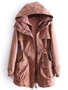 Dark Pink Hooded Long Sleeve Lace Drawstring Coat - Sheinside.com