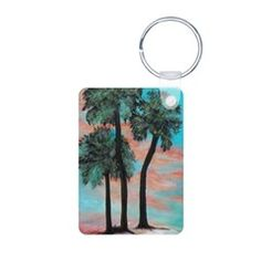 TROPICAL PALMS SUNSET Keychains