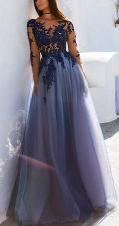 Princess A-line Scoop Neck Prom Dress,Applique Long Sleeve Floor Length Prom Dresses,Purple Tulle Appliques Evening Dress#scoop#appliques#princess#purple#longsleeve#tulle#promdressesuk