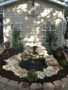 Small backyard pond perfect for relaxing and enjoying the sound of trickling water or birdwatching! http://twelveoaksmanor.com