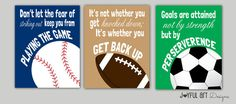 Joey and Alex bedroom Set of 3 Motivating Sports Quotes PRINTABLE Signs. Football Soccer Baseball Children's Wall Art. Boy Bedroom Decor. 3 DIGITAL files.