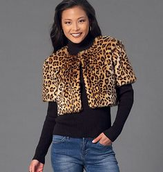 New sewing pattern perfect for all those fabulous faux furs out there. Features several different variations. McCall's M7257, Misses' Shrug, Jacket, Vest and Coat