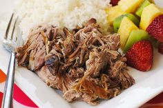 Kalua Pork (Gluten Free, Dairy Free, WW 5 Points, Keto) Hickory smoke and Himalayan pink sea salt on a boneless pork loin roast, this dish is best slow cooked and then shredded and served over rice with a side of broccoli. Boneless Pork Loin Roast, Pork Ribs, Pulled Pork, Slow Cooker Pork, Slow Cooker Recipes, Crockpot Recipes, Cooking Recipes, Kahlua Pork, Brisket