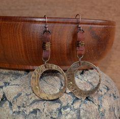 Deerskin leather and brass rivot earrings by krystalsentz on Etsy