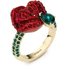 Ring Atelier Swarovski (£200) ❤ liked on Polyvore featuring jewelry, rings, green ring, red ring, red rose jewelry, red jewelry and rose ring