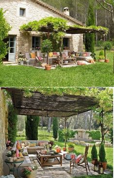 - Patio is indeed an important point in a house because it has an important role to the exterior style of the house. And a part of a patio which is usually forgotten is the roof. In fact, the beauty of a patio is also determined . Pergola Diy, Backyard Gazebo, Backyard Garden Design, Patio Roof, Diy Patio, Backyard Landscaping, Budget Patio, Flagstone Patio, Concrete Patio