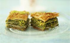 Greek Baklava with Honey and Pistachios I had to post this to feel better about that bacon post. I make an awesome Baklava. Greek Baklava, Turkish Baklava, Arabic Sweets, Arabic Food, Lebanese Recipes, Turkish Recipes, Honey Recipes, Greek Recipes, Pistachio Baklava