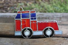 Fire Truck  Stained Glass by glassgallerygirls on Etsy, $35.00