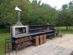 backyard design – Gardening Tips Modern Outdoor Kitchen, Outdoor Kitchen Bars, Outdoor Living, Outdoor Decor, Backyard Patio, Backyard Landscaping, Barbeque Design, Parrilla Exterior, Bbq Shed