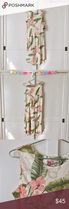 """Sweet Pink Plumeria Dress by Hilo Hattie Hawaii *Deadstock* Sweet Pink Plumeria Dress by Hilo Hattie Hawaii. A pretty sleeveless aloha dress for your next tropical vacation! Lightweight and flowy, perfect for those ocean breezes. It's a gorgeous cream & tan color with pink flowers and green leaves. It would look cute with your favorite scarf or shoulder wrap. NEW with tags.   100% Rayon  Shoulders: 13.5"""" Chest: 39"""" Waist: 36"""" Hilo Hattie Dresses Midi"""