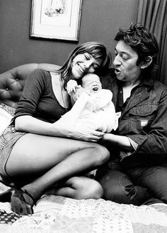 Jane Birkin and Serge Gainsbourg with baby Charlotte Gainsbourg.